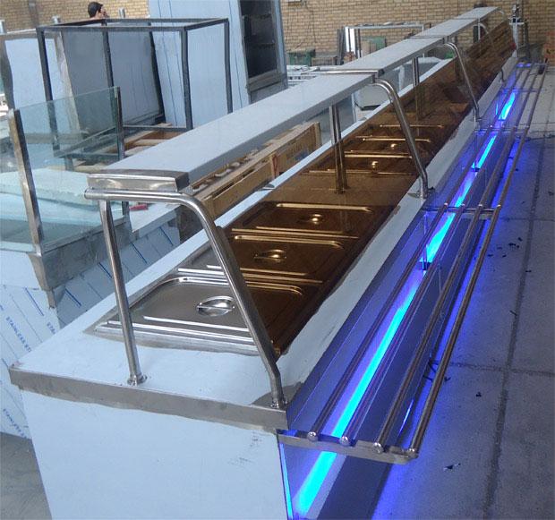 سلف سرویس رستوران نما استیل نور مخفی آبی